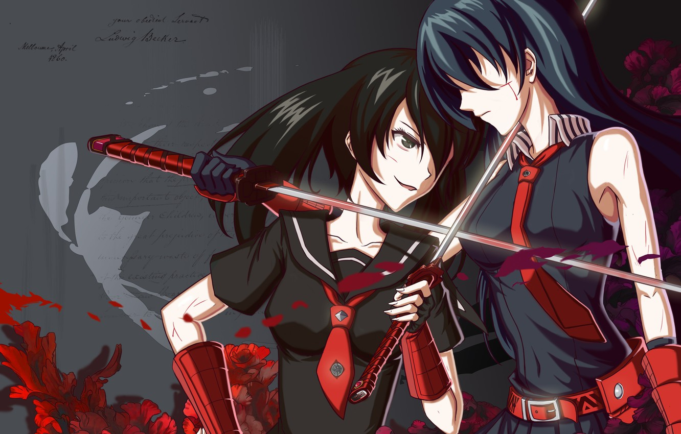 Wallpaper Girls Katana Akame Akame Ga Kill Kurome Akame Ga