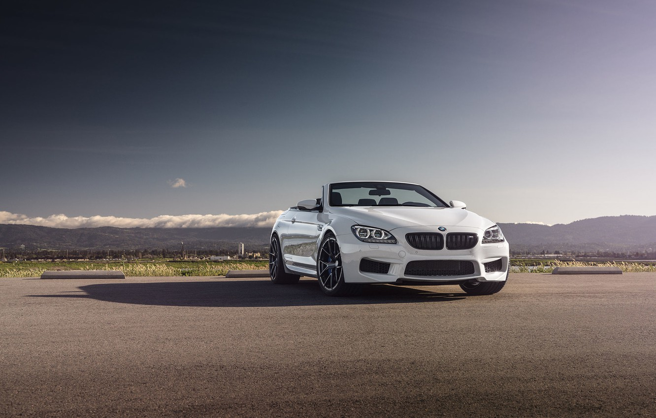 Photo wallpaper BMW, Sky, Front, White, Forged, Convertible, Wheels, Strasse