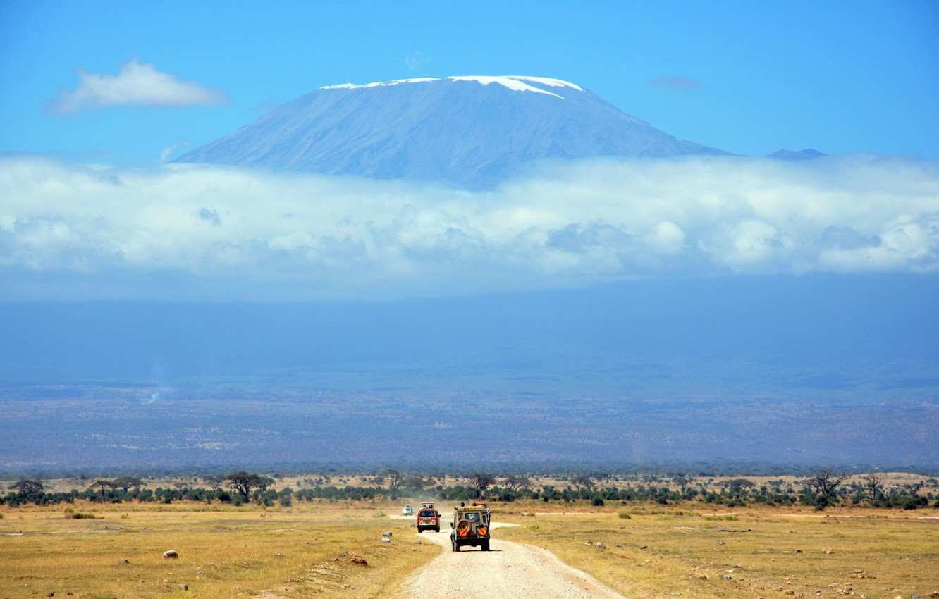 Photo wallpaper road, the sky, clouds, landscape, stay, mountain, vacation, Savannah, car, Africa, Safari