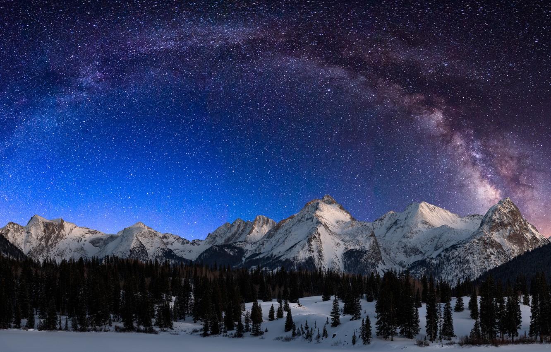 Photo wallpaper Landscape, Night, Snow, San, Milky Way, Mountains, Durango, Garfield, Colorado, Range, Lake, Grenadier, Electric, Peak, …