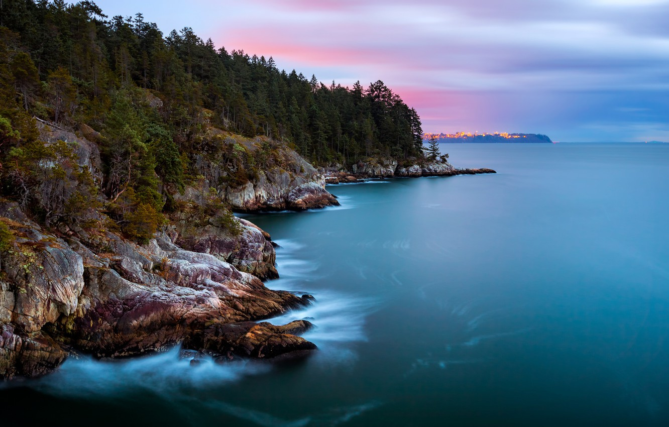 Photo wallpaper forest, the sky, trees, clouds, the city, lights, Strait, the ocean, rocks, shore, island, the …