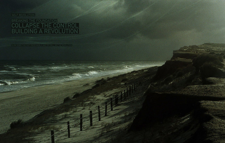 Photo wallpaper shore, storm, Wave