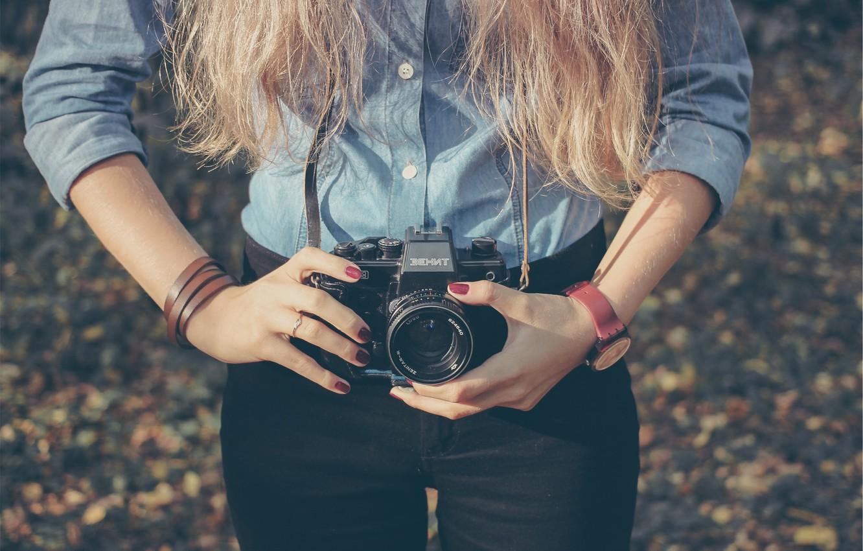 Photo wallpaper girl, style, retro, photo, hands, Zenit, the camera, film