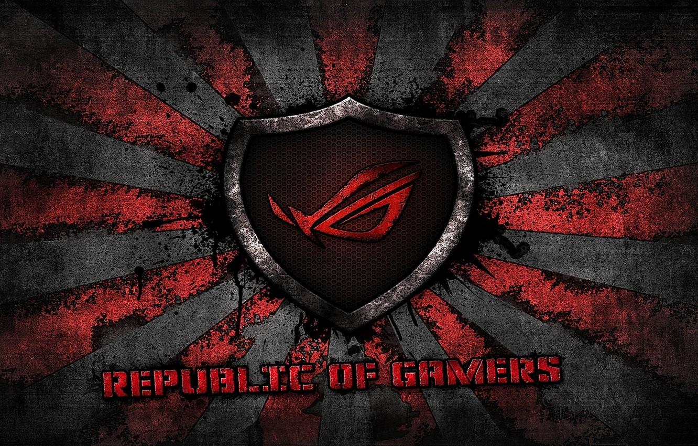 Photo wallpaper red, logo, grey, background, brand, asus, rog, republic of gamers, asus gamer, sunburst