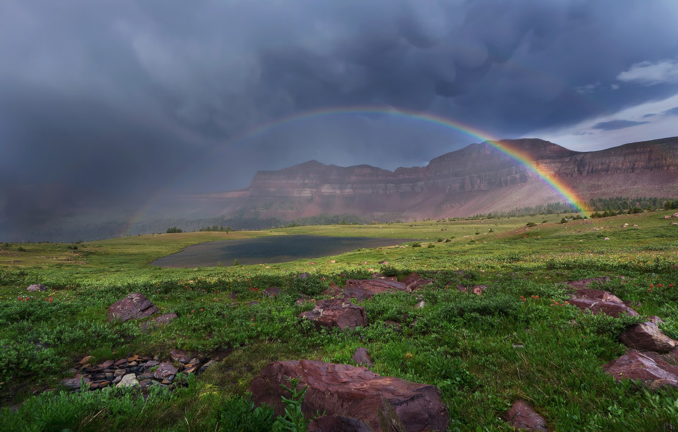 Photo wallpaper the sky, grass, clouds, flowers, mountains, clouds, lake, stones, rainbow