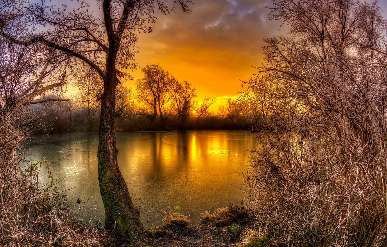 Photo wallpaper lake, Croatia, Zagreb, Lake Savica