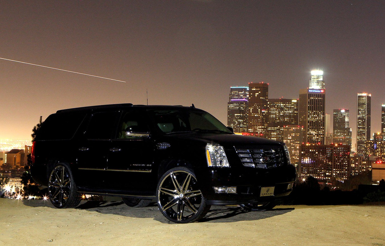 Photo wallpaper black, cadillac, escalade