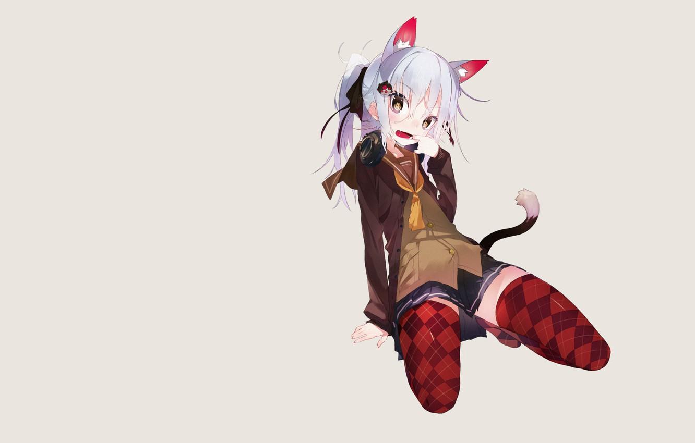 Photo wallpaper girl, skirt, minimalism, stockings, headphones, tail, grey background, neko, etty, ears, simple background