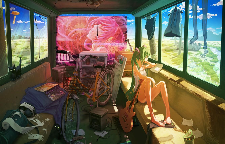 Photo wallpaper cat, girl, bike, clothing, guitar, bus, vocaloid, hatsune miku, journey