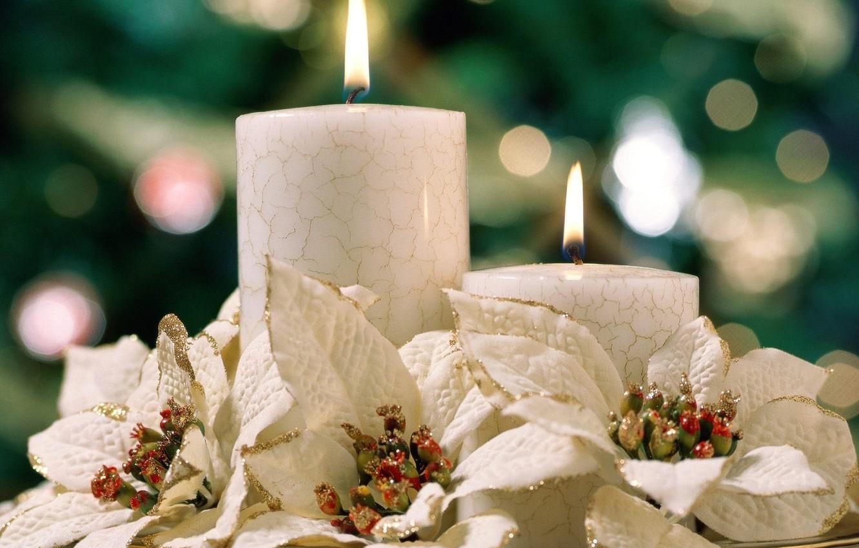 Photo wallpaper Flowers, Lights, Candles, Heat, Comfort