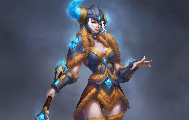 Photo wallpaper girl, background, art, helmet, armor, League of Legends, Sejuani