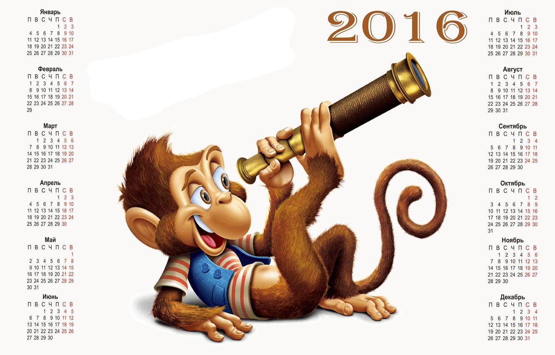 Photo wallpaper monkey, monkey, calendar, calendar, 2016