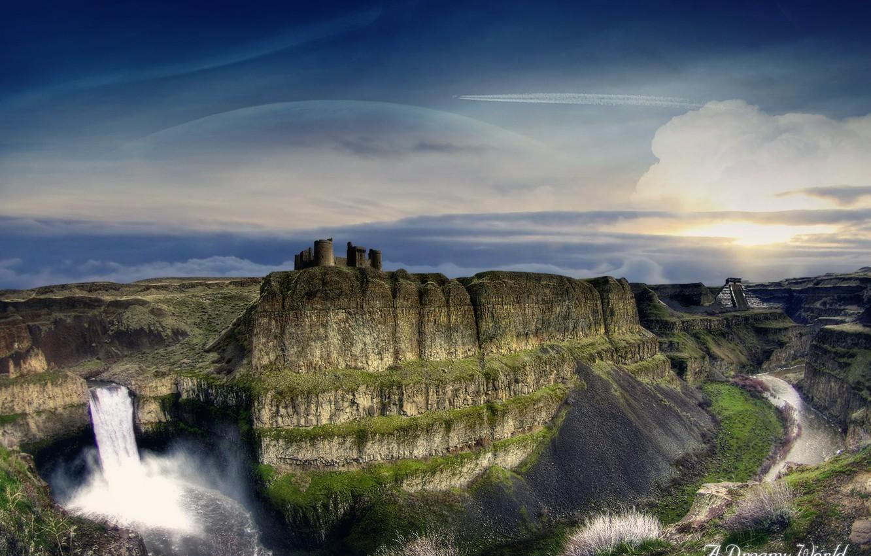 Photo wallpaper waterfall, canyon, gorge, Dreamy World