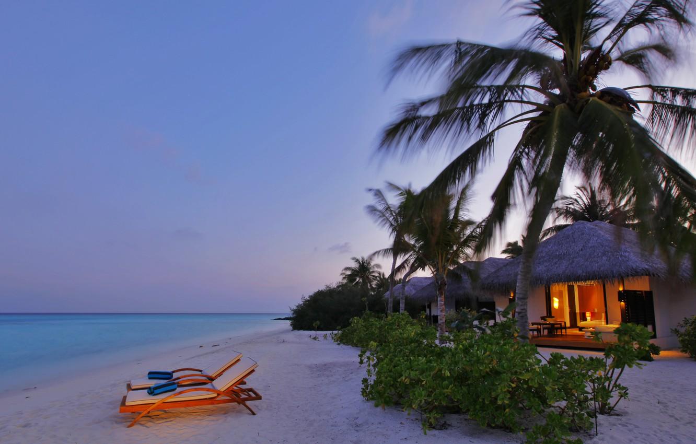 Photo wallpaper sea, beach, Villa, Beach, Deckchair, Villa