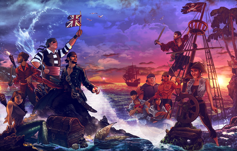 Photo wallpaper sea, shore, ship, island, mermaid, pirates, chest, treasures