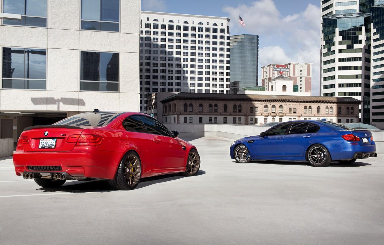Photo wallpaper blue, red, bmw, BMW, coupe, shadow, red, sedan, rear view, f10, e92, mpnte carlo blue