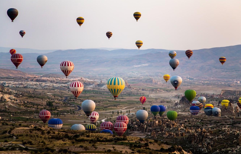 Photo wallpaper mountains, balls, ball, valley, air