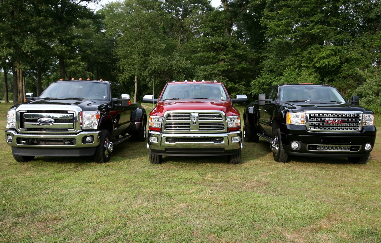 Photo wallpaper trees, background, Ford, Ford, Dodge, jeep, Dodge, pickup, the front, and, GMC, Ram, Denali, Super …