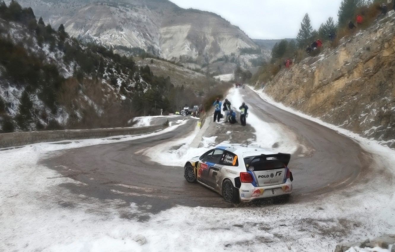 Photo wallpaper Auto, Mountains, White, Sport, Volkswagen, Machine, People, Turn, Skid, Red Bull, WRC, Rally, Rally, Polo, …