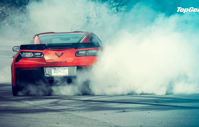 Photo wallpaper Z06, Corvette, Chevrolet, Top Gear, Red, Power, Smoke, Rear