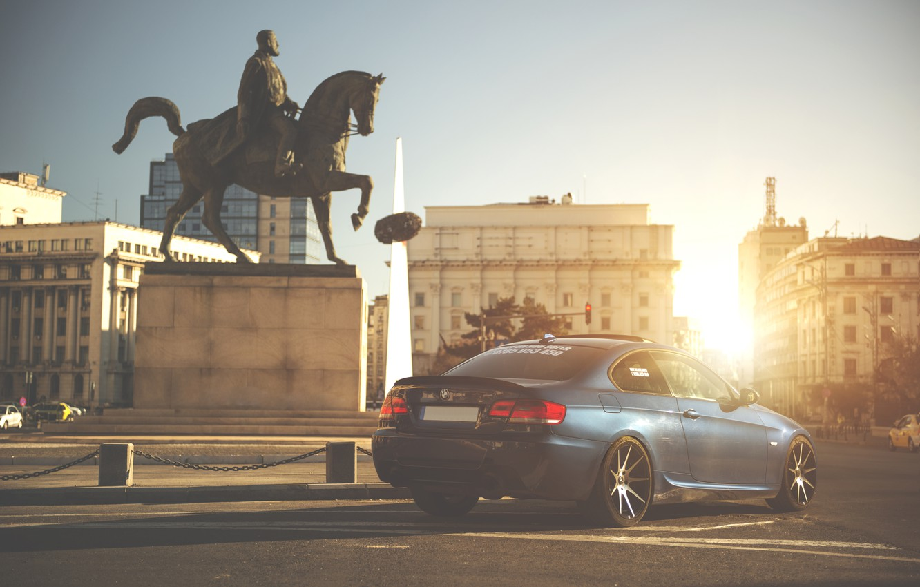 Photo wallpaper the sun, rays, Area, BMW, Tuning, Blue, BMW, Drives, E92, Back, Deep Concave