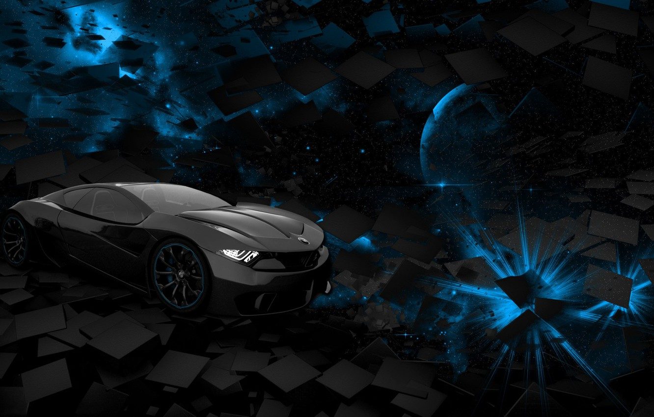 Wallpaper Car Space Black Blue Square Background