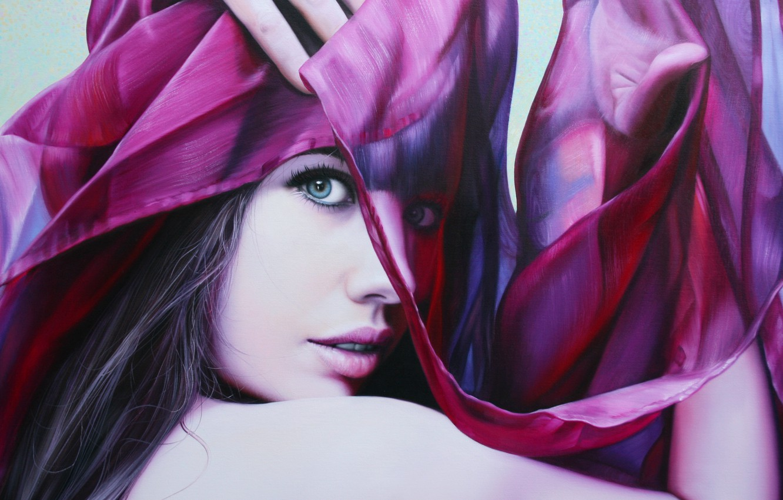 Photo wallpaper look, girl, face, hair, hands, art, lips, fabric, Christiane Vleugels