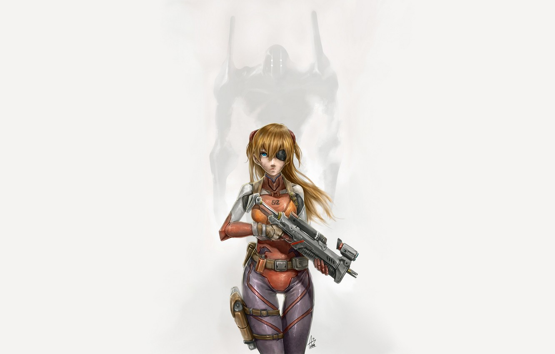 Photo wallpaper girl, weapons, costume, Eva, Neon Genesis Evangelion, simple background, Asuka Langley