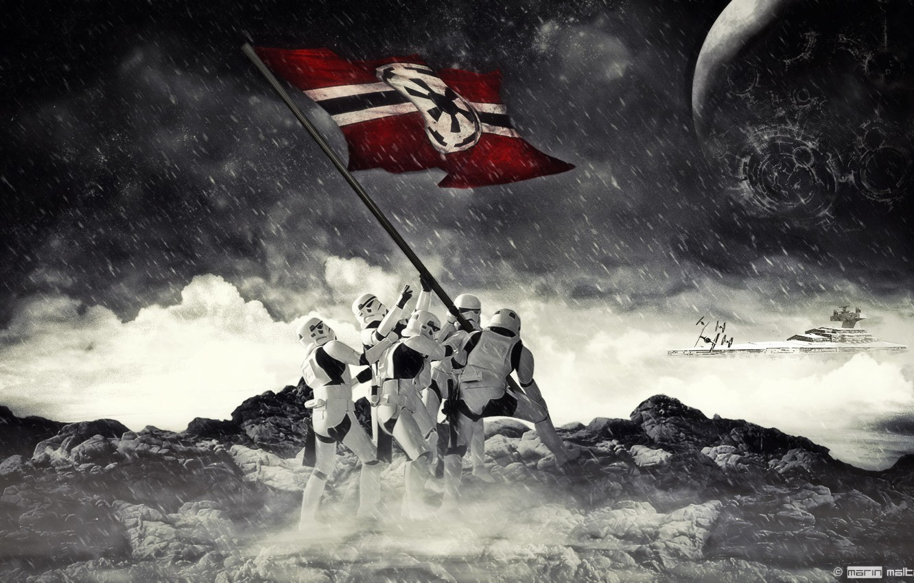Photo wallpaper Star wars, Star wars, Flag, Stormtrooper