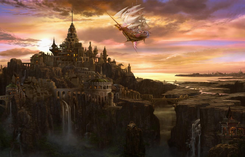 Photo wallpaper clouds, bridge, the city, castle, ship, tower, waterfall, art, sails, ucchiey, if kazama uchio, volatile
