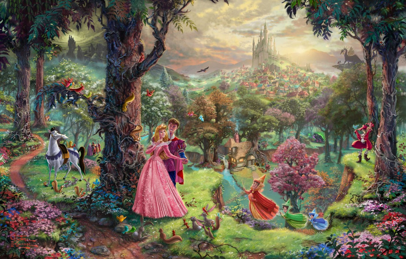 Wallpaper Forest Trees Park Castle Dragon Cartoon Home
