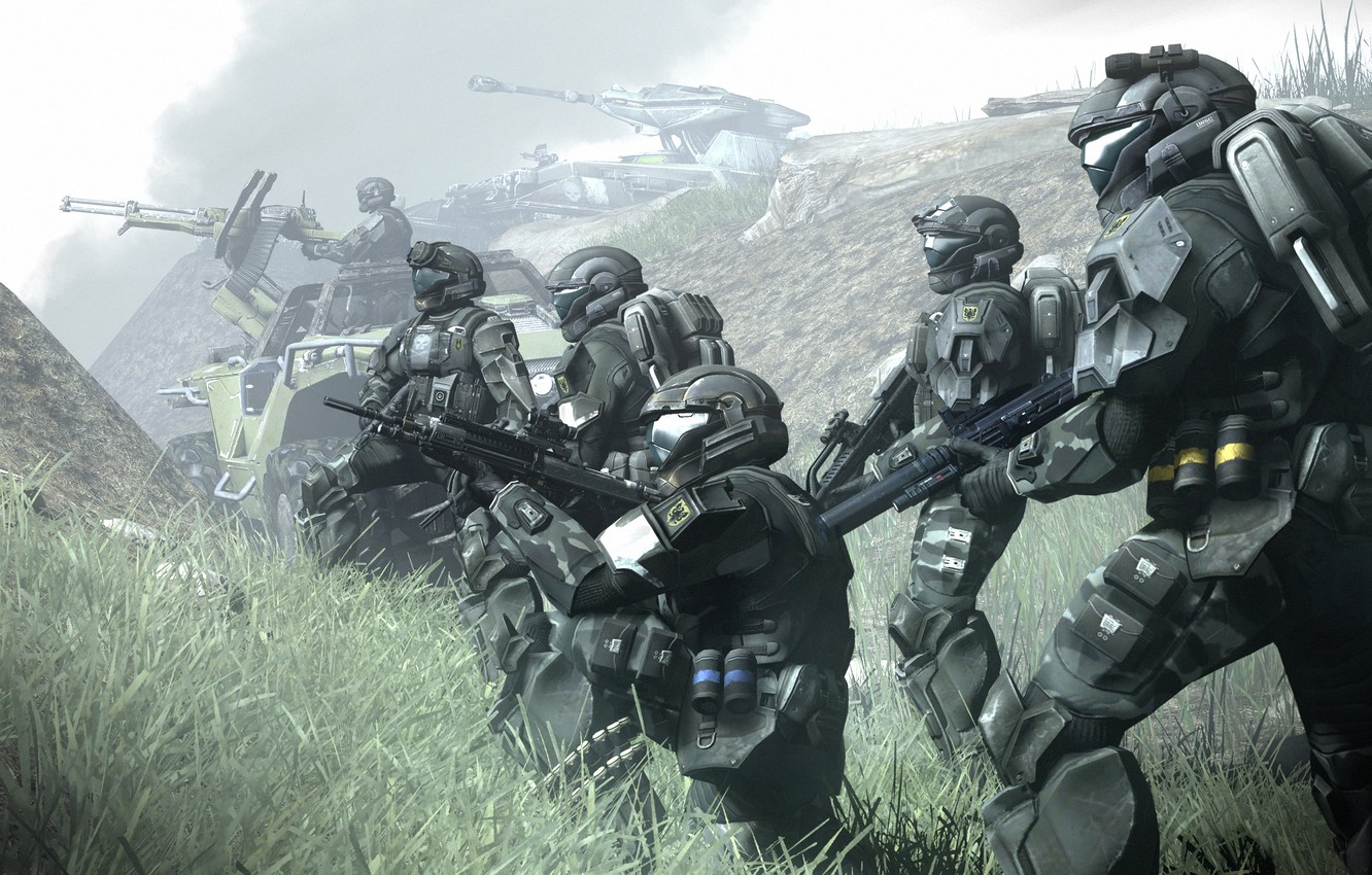 Photo wallpaper fog, fiction, soldiers, armor, distance, halo, armor