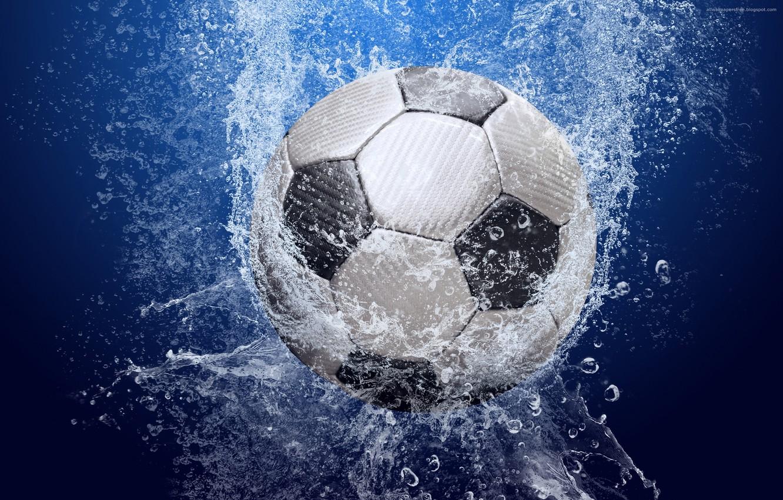 Photo wallpaper water, drops, squirt, football, the ball