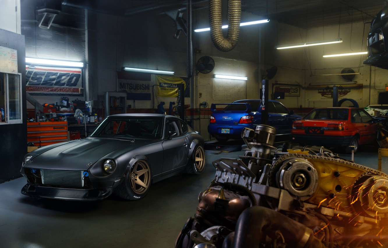 Photo wallpaper Front, Wheels, Garage, Project, Engine, ADV.1, 280Z, Dutsun