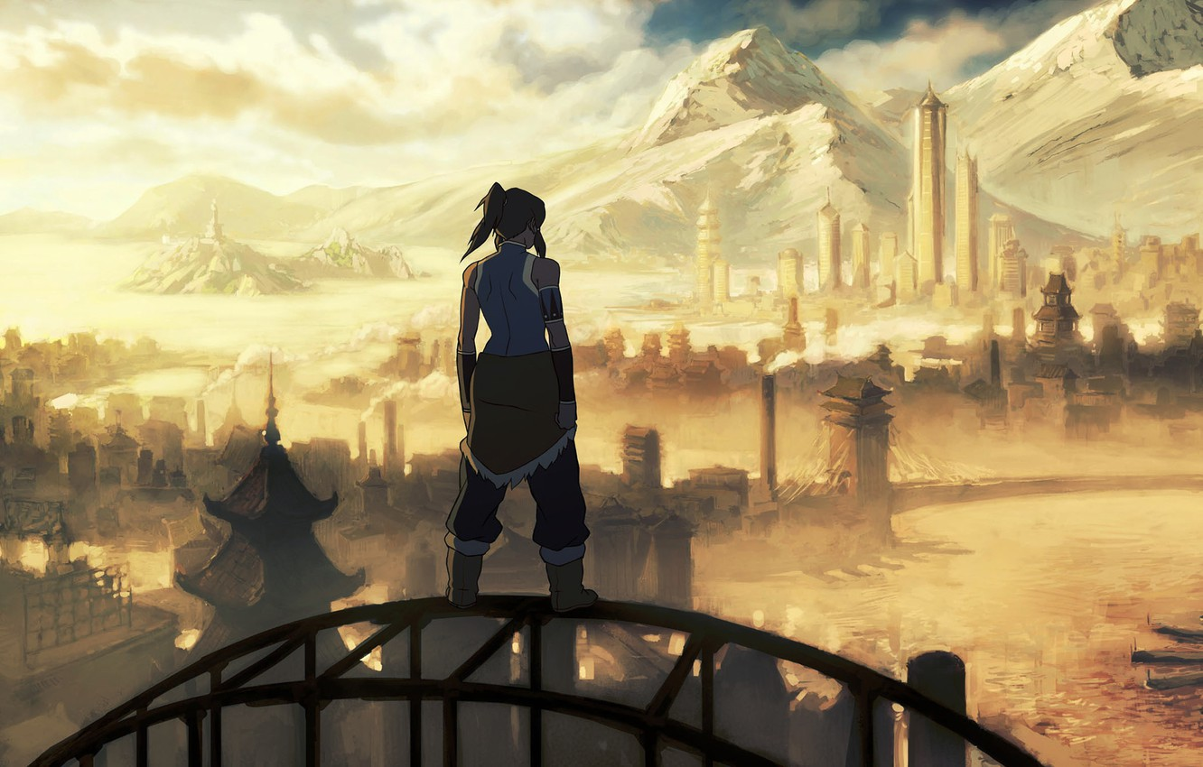 Photo wallpaper mountains, the city, river, avatar, the animated series, the legend of Korra