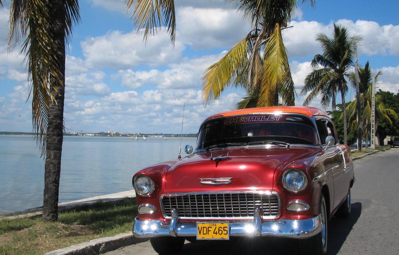 Photo wallpaper sea, the sky, asphalt, palm trees, Chevrolet