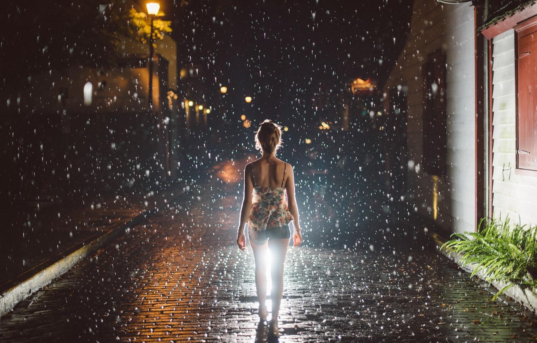 Photo wallpaper girl, night, the city, rain.gait, Walking in the Rain