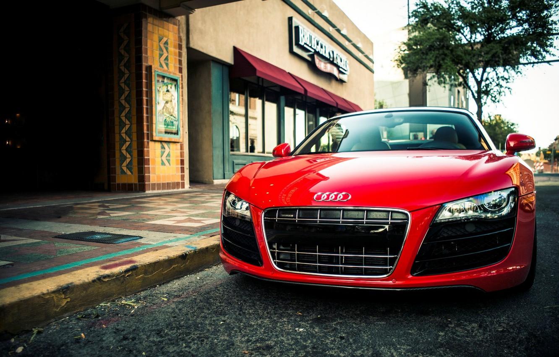 Photo wallpaper Audi, Audi, red, red, spider, Spider, V10