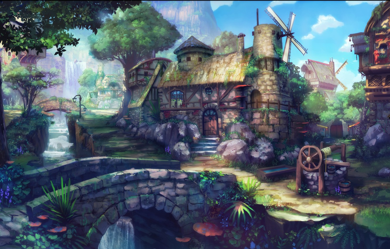 wallpaper house, fantasy, nature, wood, village, forest, paintingphoto wallpaper house, fantasy, nature, wood, village, forest, painting,