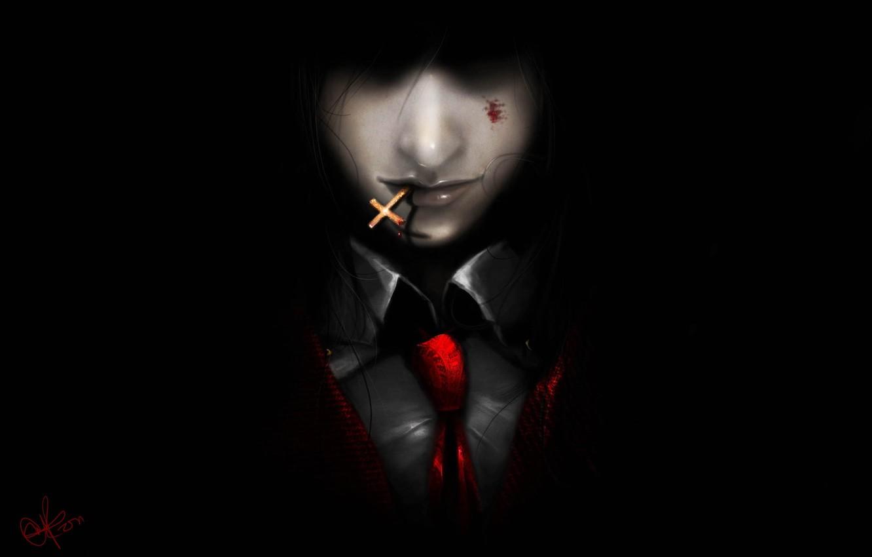 Photo wallpaper the dark background, blood, the demon, art, tie, vampire, guy, Hellsing, cross, Alucard