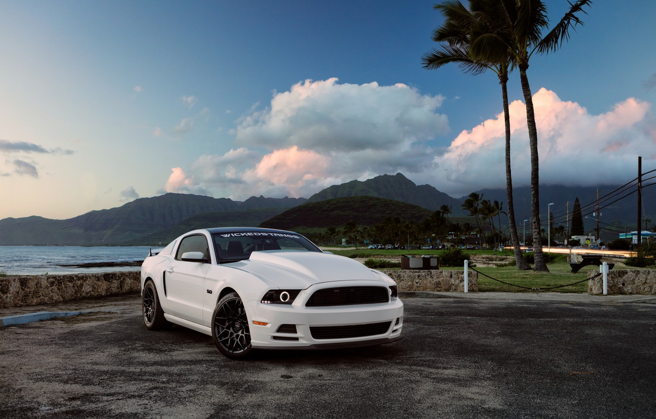 Photo wallpaper Mustang, Ford, Muscle, Car, Hawaii, Front, 5.0, White