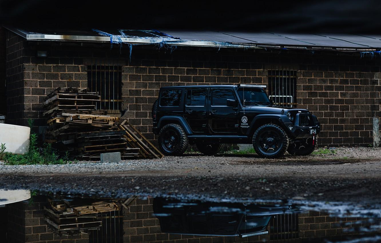 Photo wallpaper car, black, jeep, wrangler, unlimited, vnedorozhnye