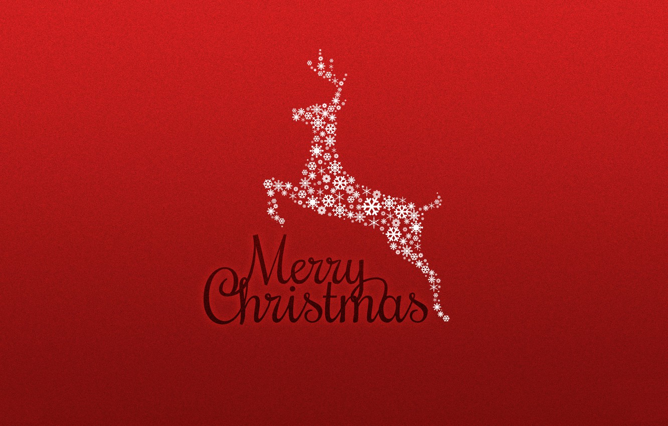 Photo wallpaper red, background, new year, Christmas, minimalism, deer, holidays, merry christmas