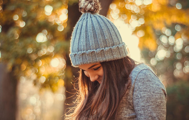 Photo wallpaper autumn, girl, hat, bokeh