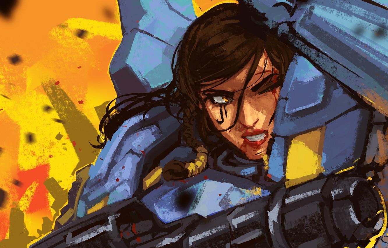 Photo wallpaper girl, gun, armor, blizzard, art, overwatch, pharah