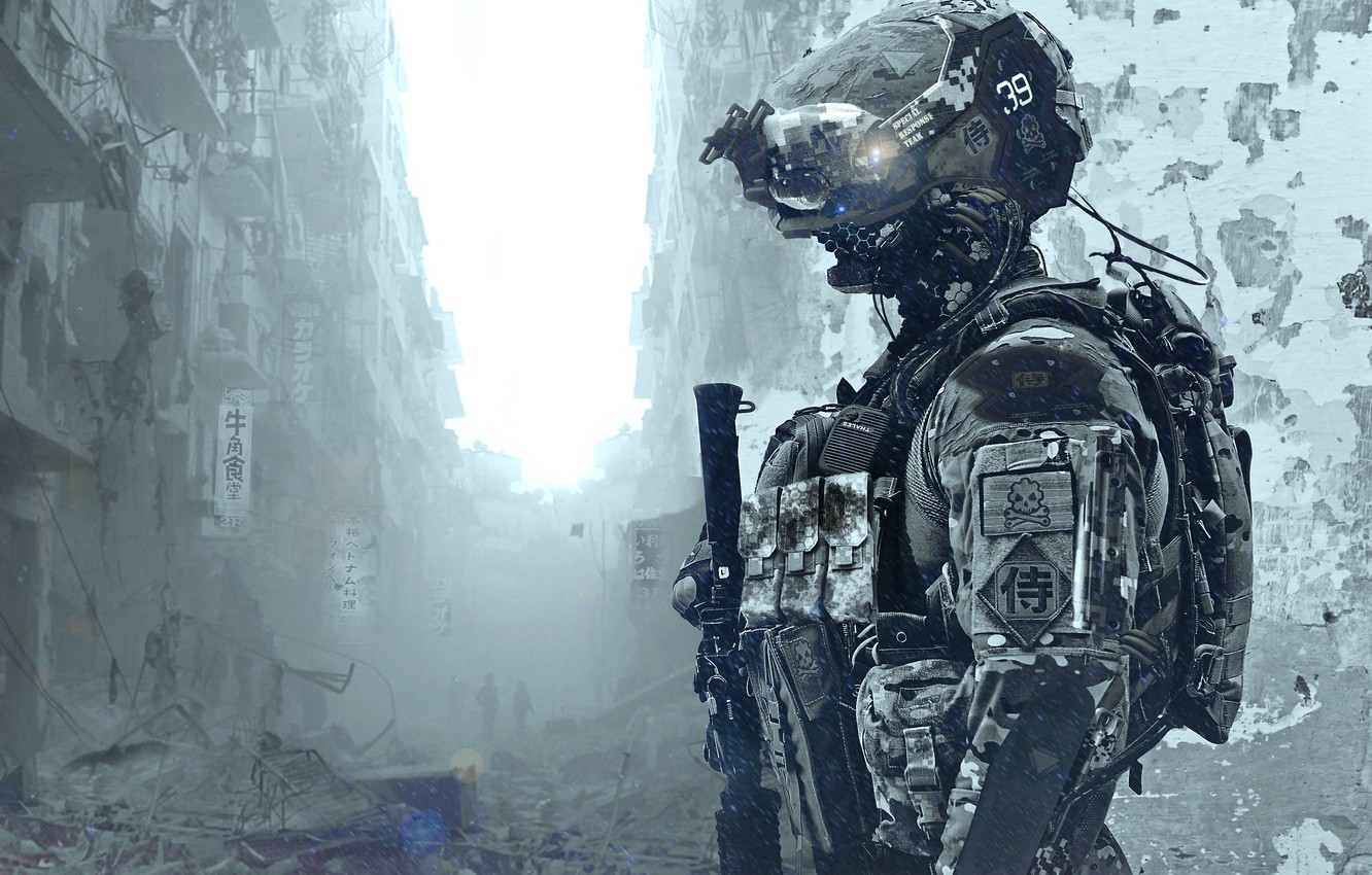 Photo wallpaper soldiers, costume, the ruins, helmet, special forces