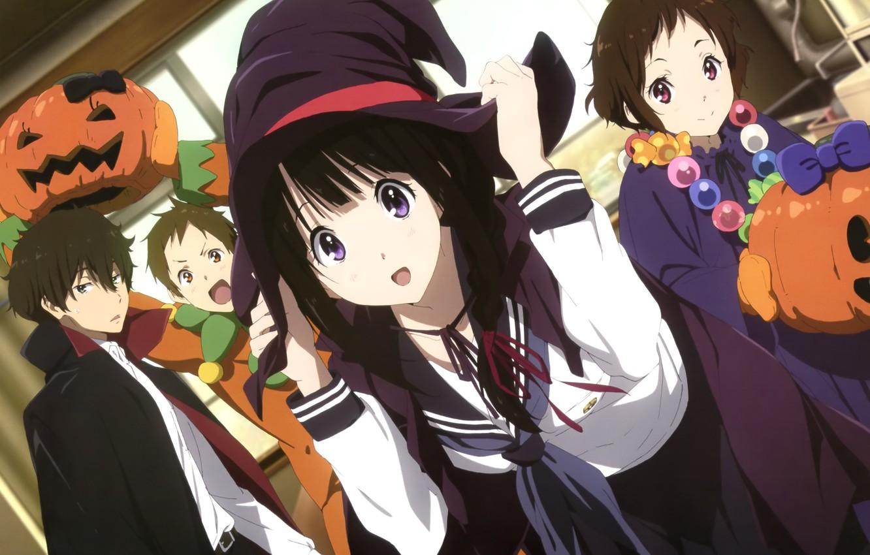 Photo wallpaper girl, hat, pumpkin, guy, cloak, Hyouk, Mayaka Ibara, Houtarou Oreki, Eru Chitanda, Satoshi Fukube