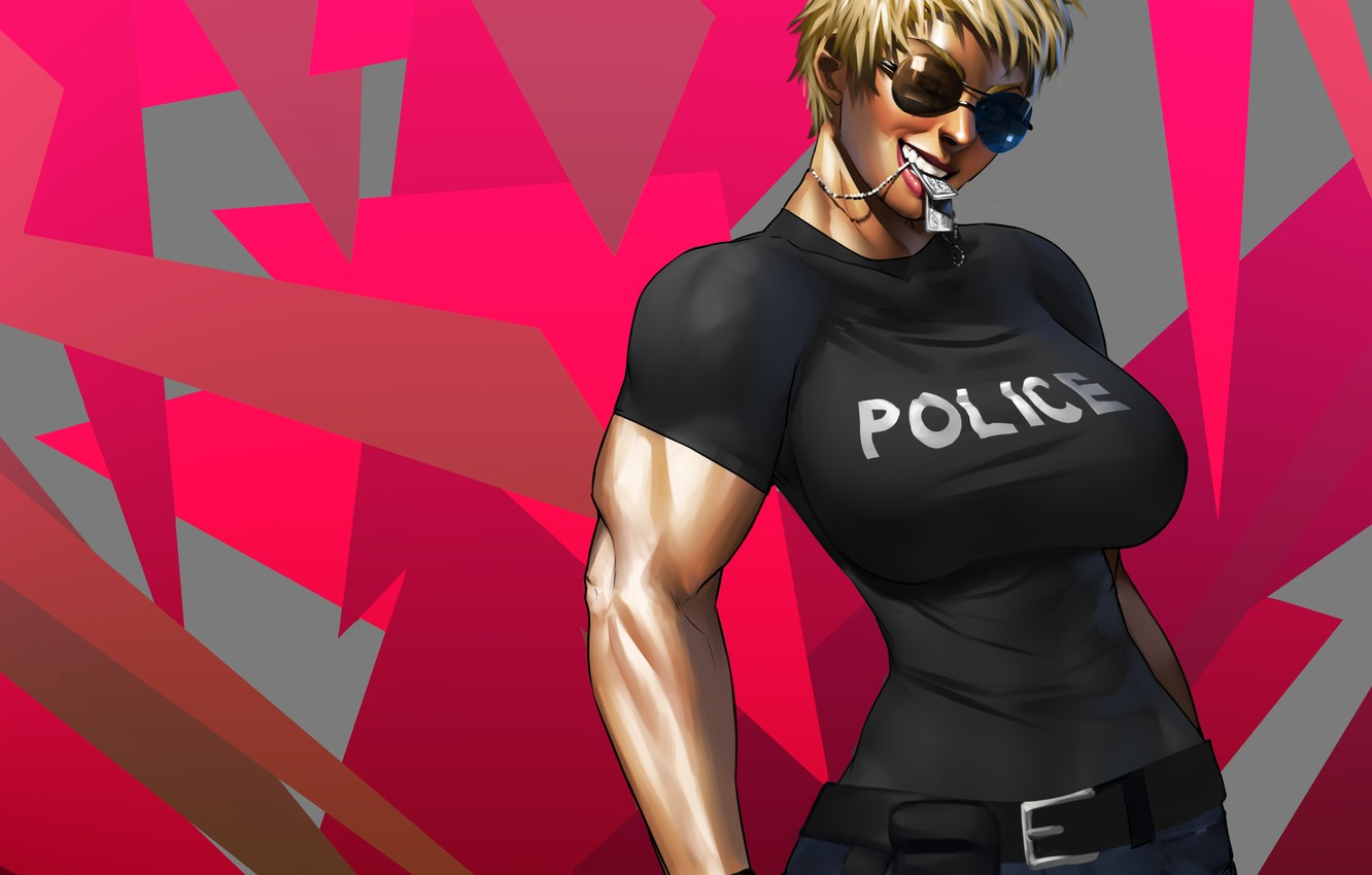 Photo wallpaper chest, girl, police, art, glasses, police, anime, tokens, muscles, naomi anderson