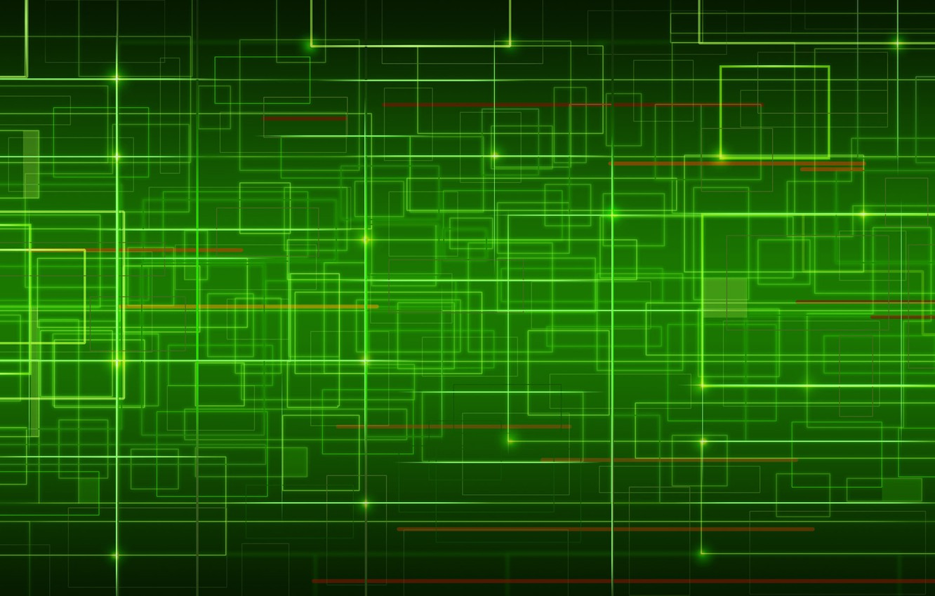 Photo wallpaper line, green, curves, network