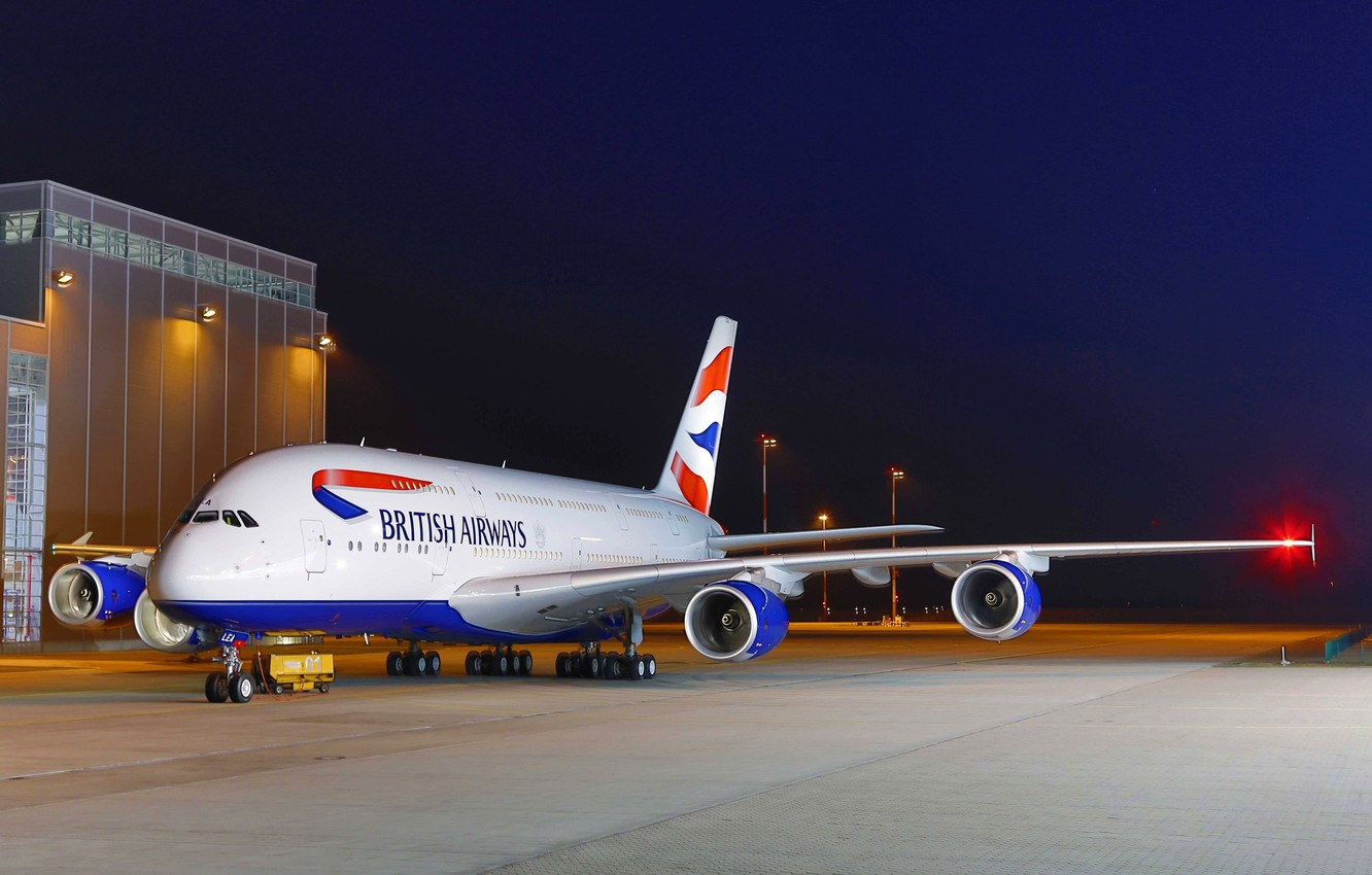 Photo wallpaper The sky, Lights, Night, Airport, Sky, Lights, Night, A380, Airbus, Airport, British Airways